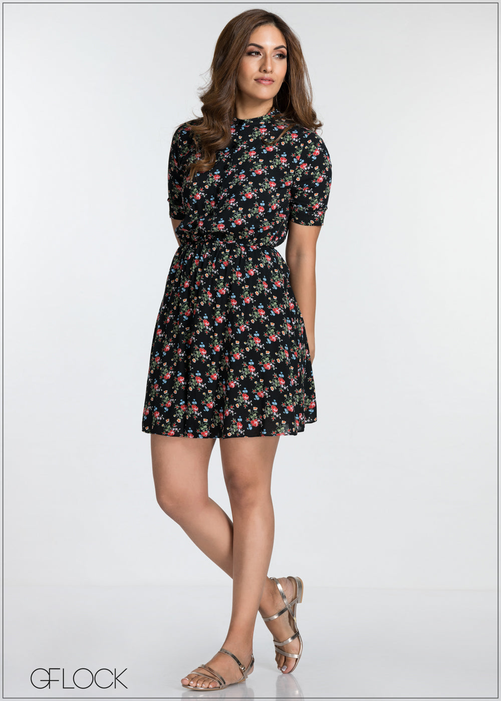 Floral Print Waist Gathered Dress - GFLOCK.LK