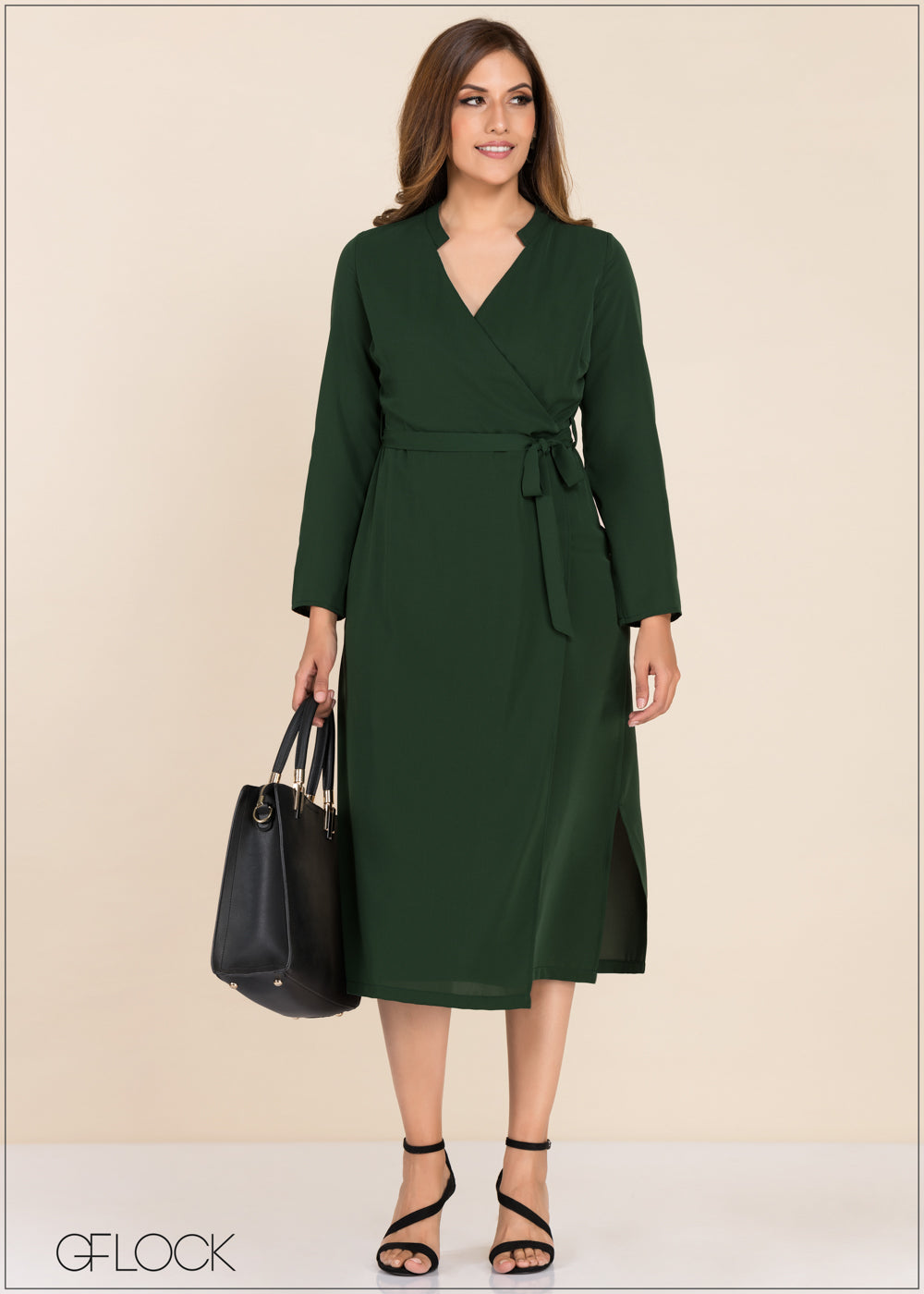 Wrap Waist Belted Dress - GFLOCK.LK