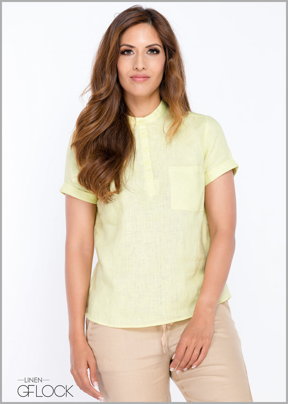 Turn Up Sleeve Linen Top