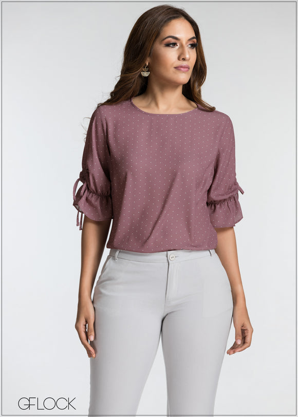 Sleeve Ruched Work Wear Top