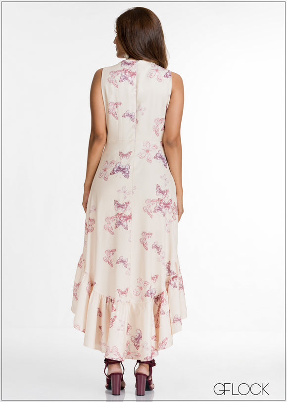 V Neck Detailed Printed Evening Dress - GFLOCK.LK