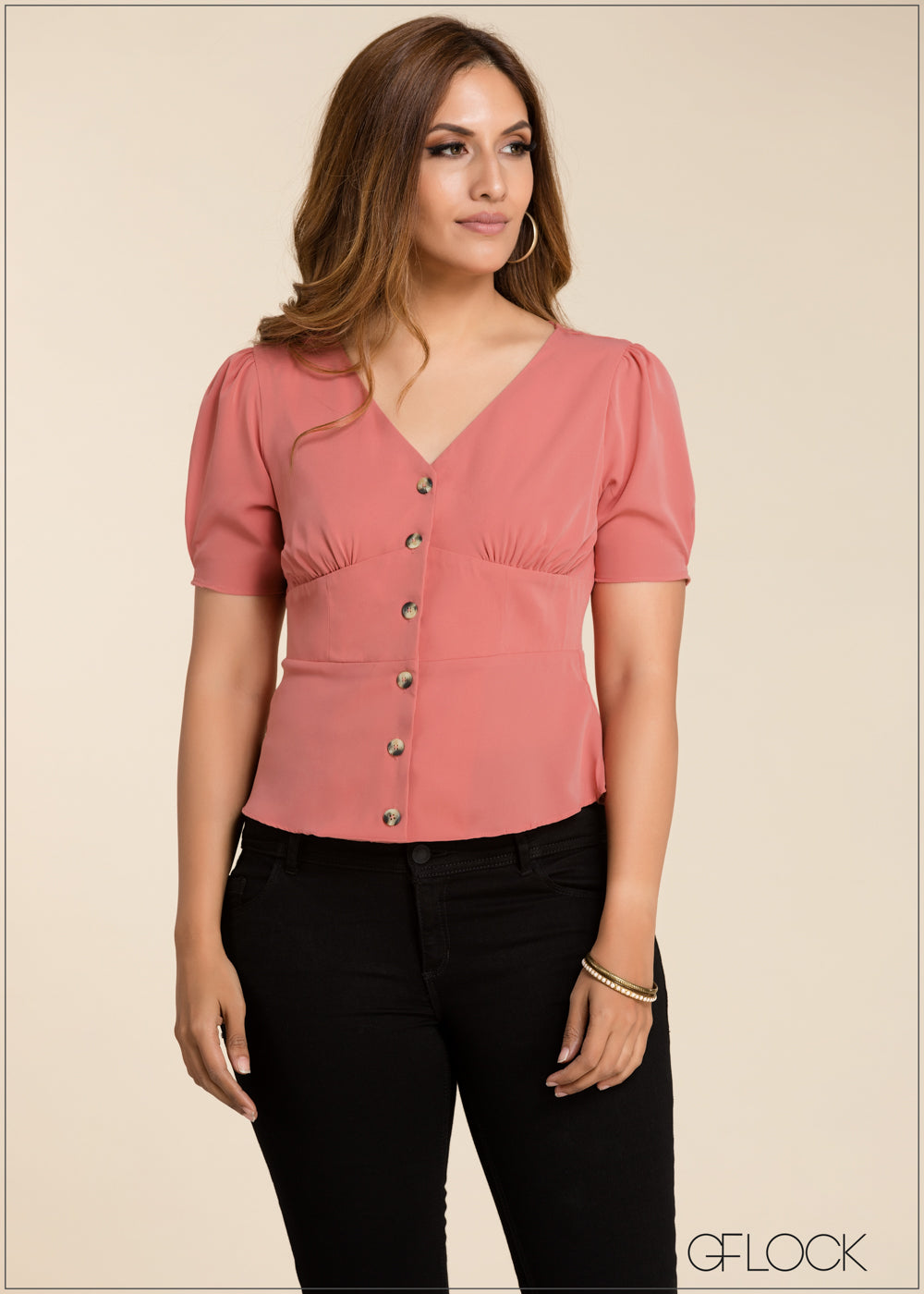 V Neck Button Detailed Top - GFLOCK.LK