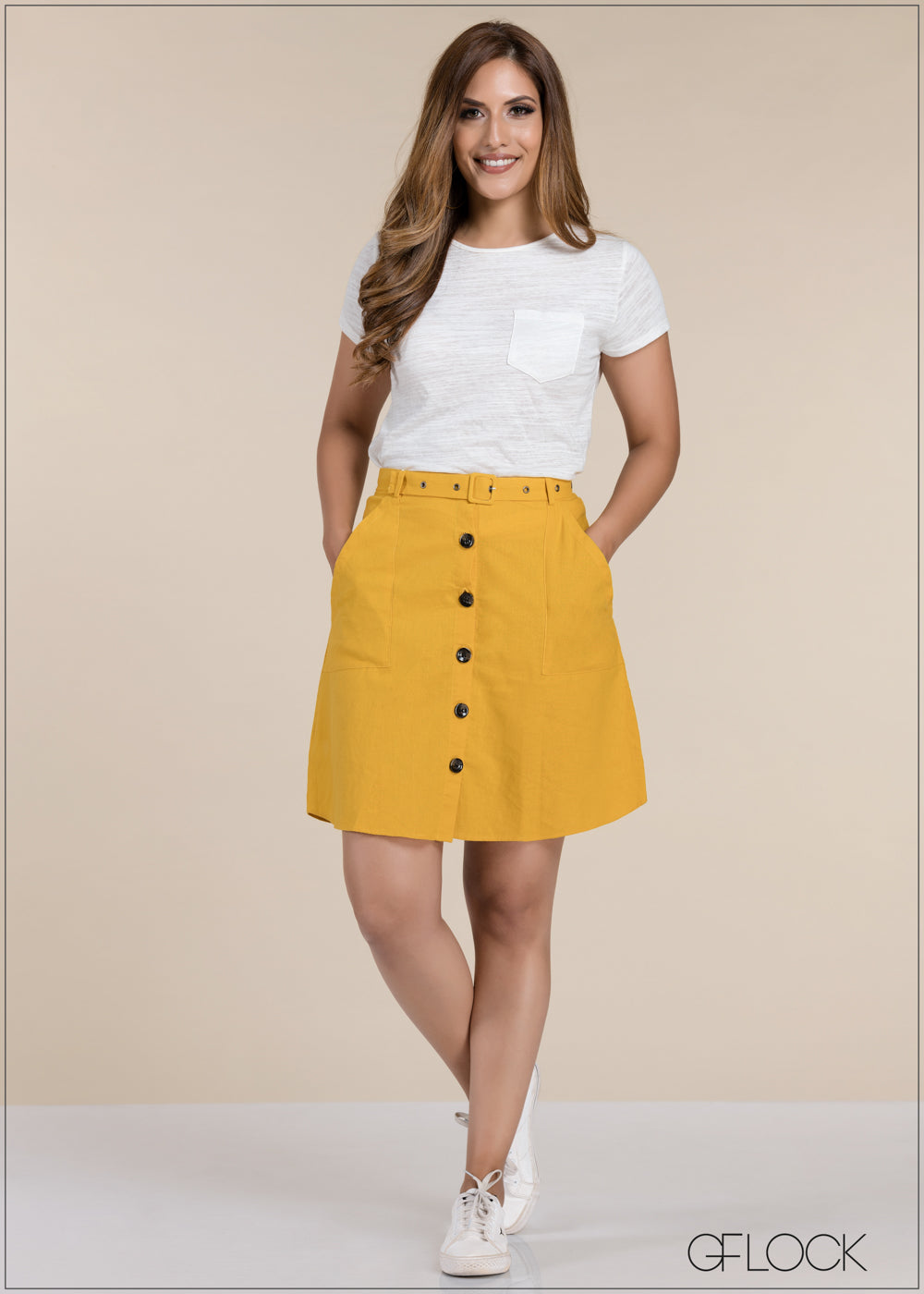 Button Detailed Skirt