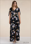 Sleeve Tie Knot Maxi Dress - GFLOCK.LK