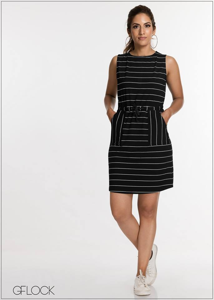 Mono Striped Sleeveless Dress