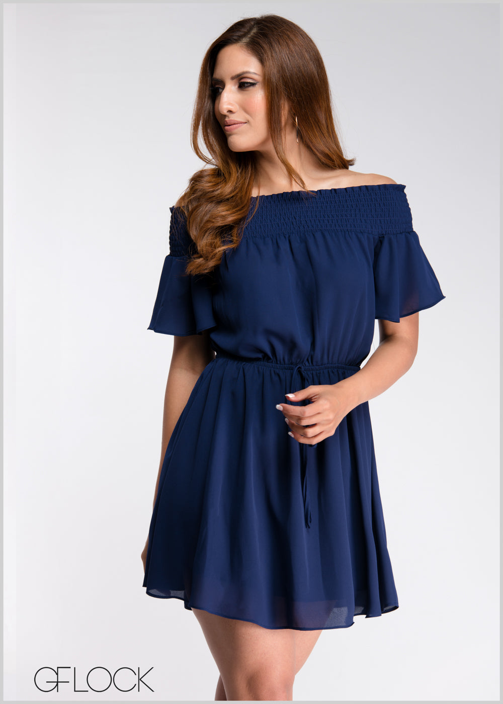Off Shoulder Waist Tie Dress