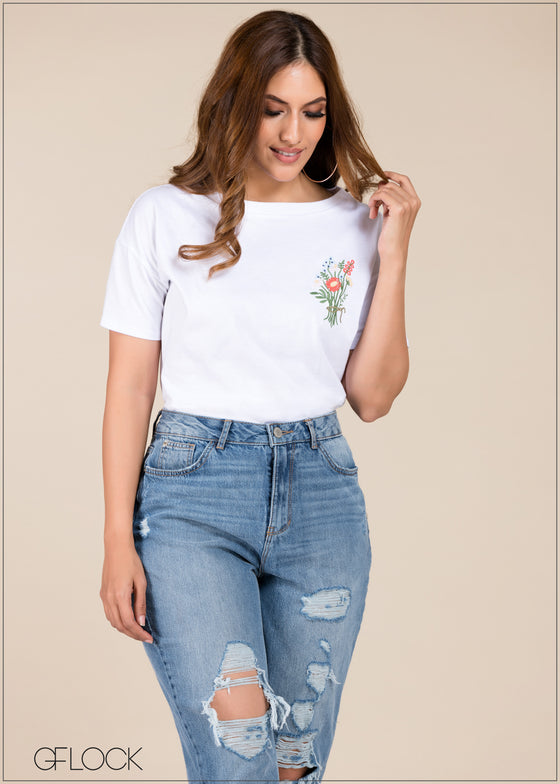 Flower Embroidered Knit Top - GFLOCK.LK