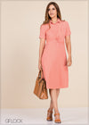 Waist Gathered Workwear Dress - GFLOCK.LK