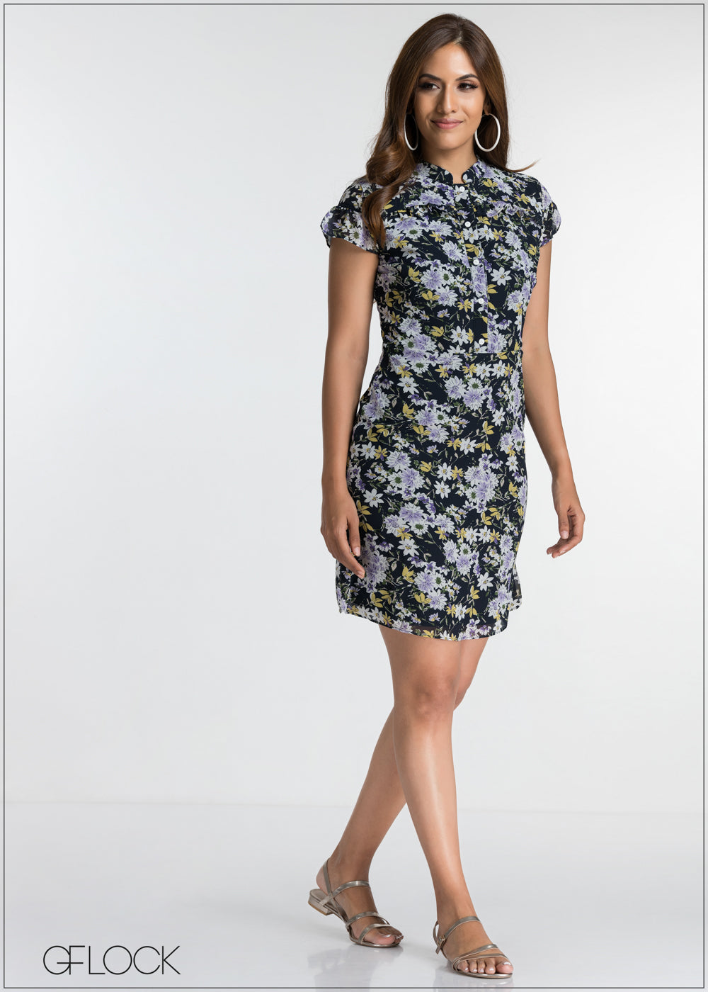 Frill printed Dress
