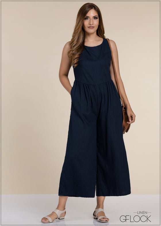 Sleeveless Gathered Waist Jumpsuit