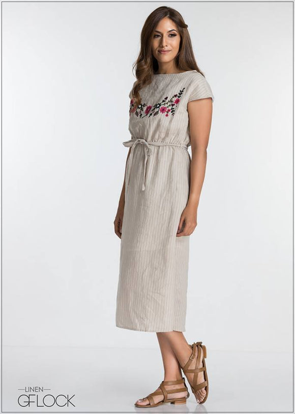Embroidered Linen Dress