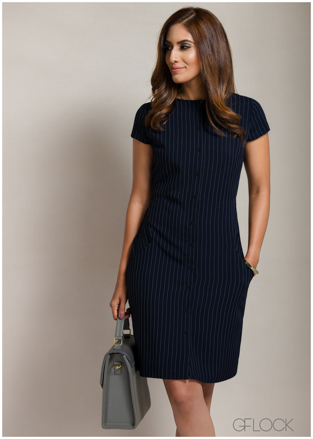 Stripe Buttoned Workwear Dress