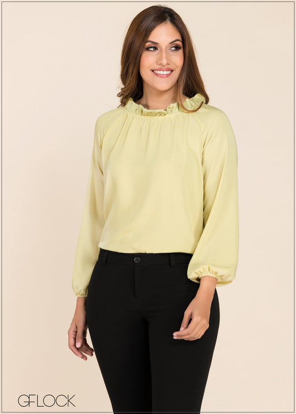 Gather Neck Detail Top - GFLOCK.LK