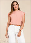 Structured Frill Sleeve Top - GFLOCK.LK