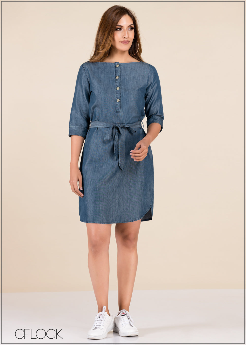 Front Buttoned Shift Dress - GFLOCK.LK