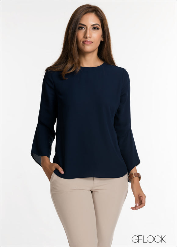 Asymmetrical Flair Sleeve Top