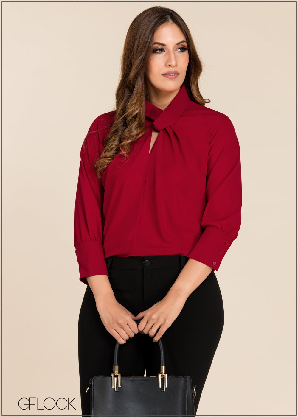 Neck Detailed Workwear Top - GFLOCK.LK