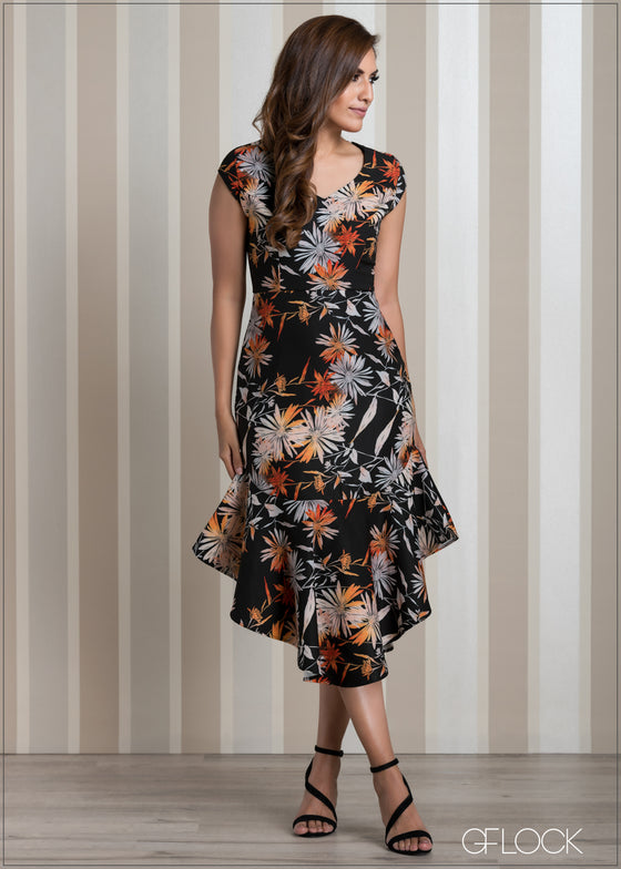 Frill Hem Printed Evening Dress