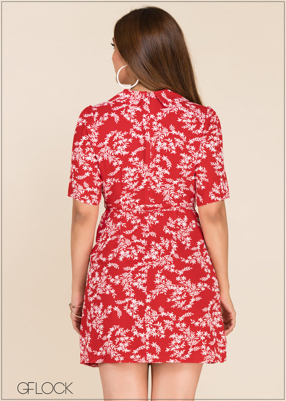 Front Wrap Printed Dress - GFLOCK.LK