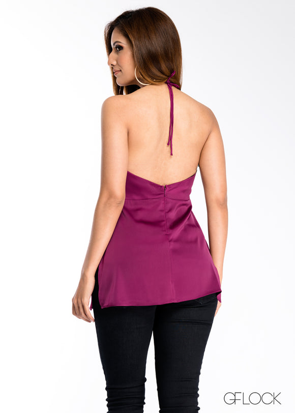 Cowl Neck Halter Neck Top
