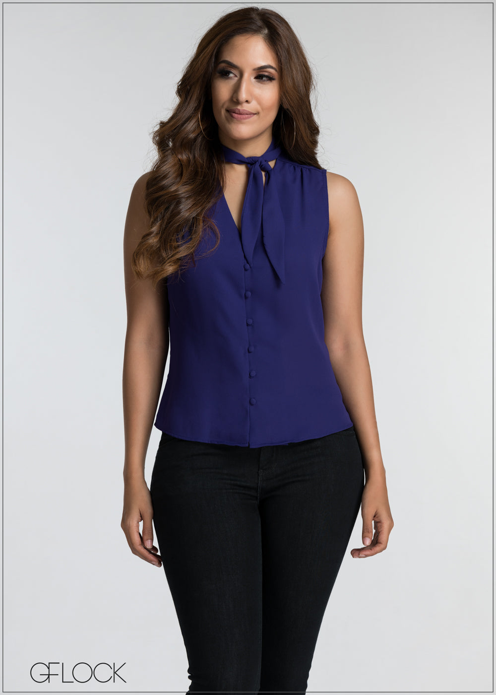 Neck Tie Detail Top