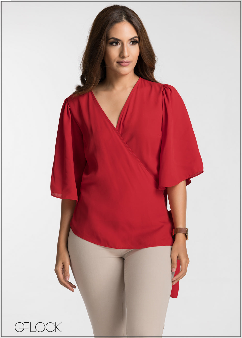 Wrap Tie Up Flair Sleeve Top