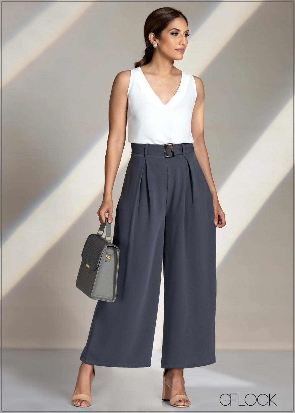 Belted Flair Work Wear Pant