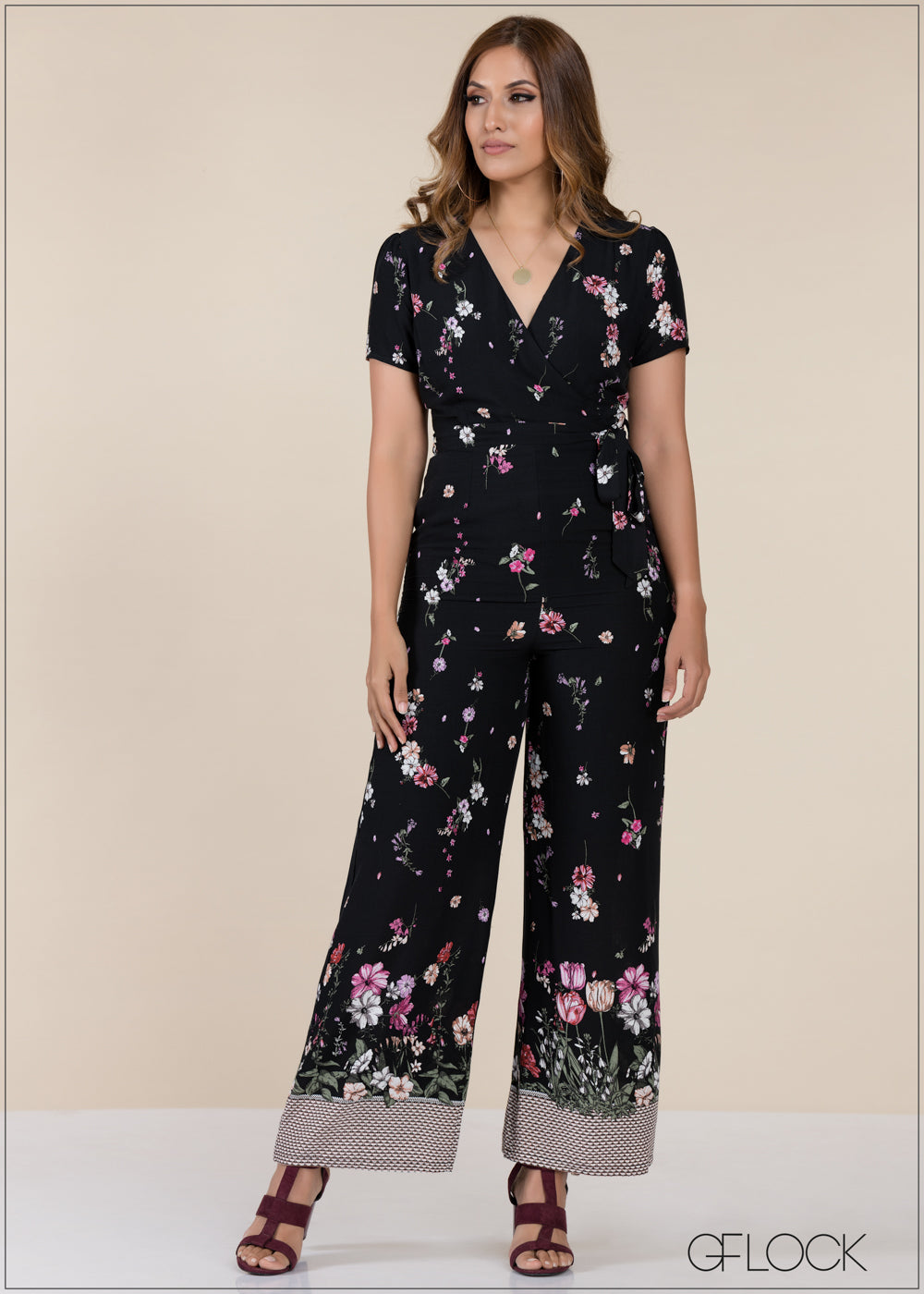 V Neck Printed Jumpsuit