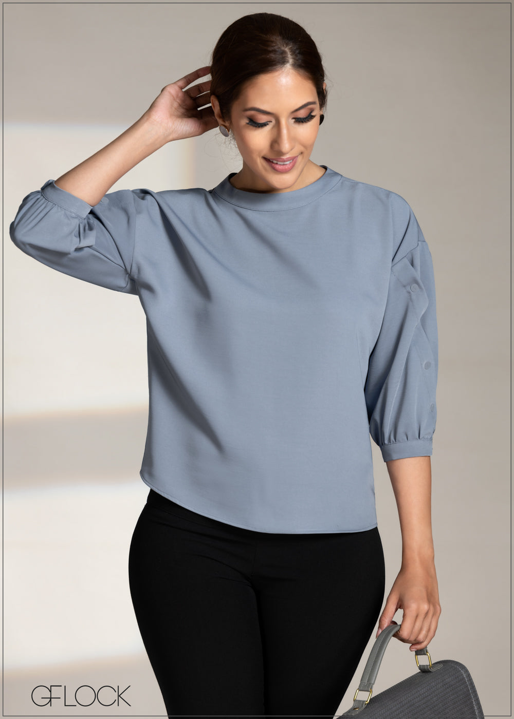 Buttoned Wrap Sleeve Top