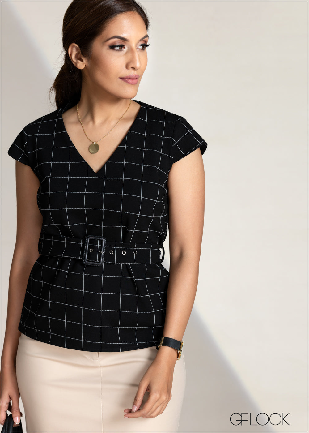 Plaid Peplum Belted Top
