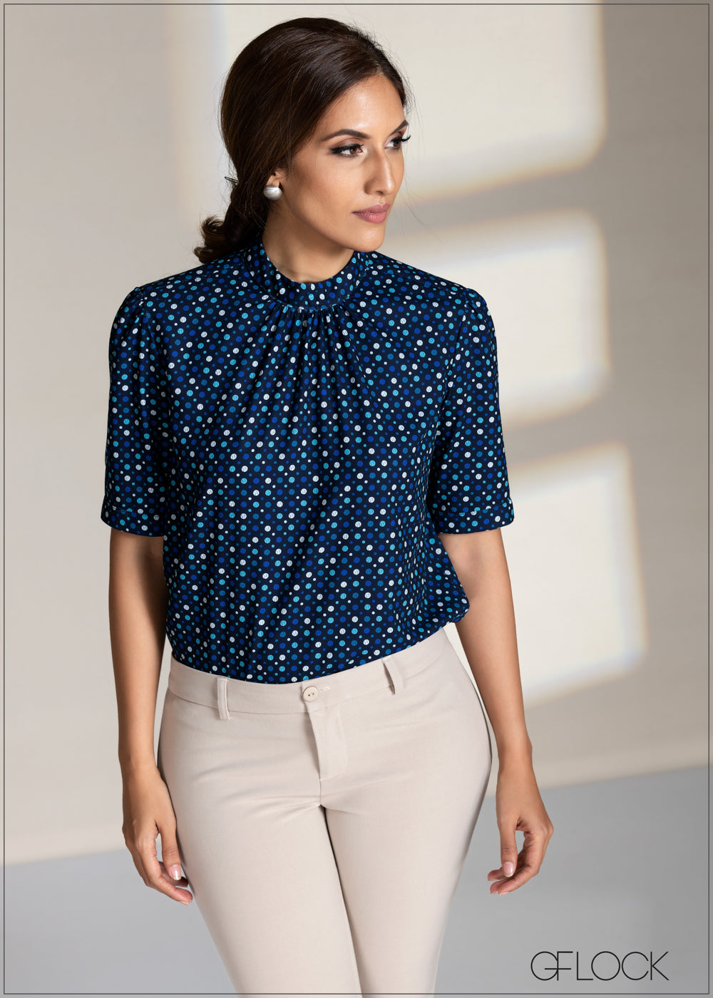 Dotted High Neck Top