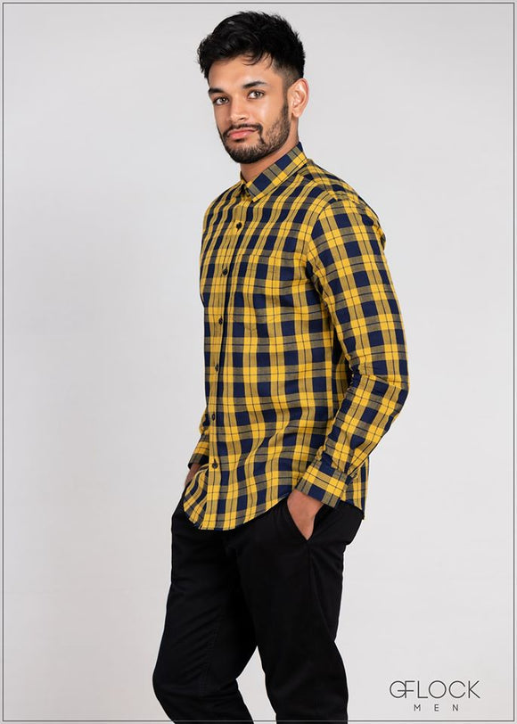 Checked Cotton Long Sleeve Shirt - GFLOCK.LK