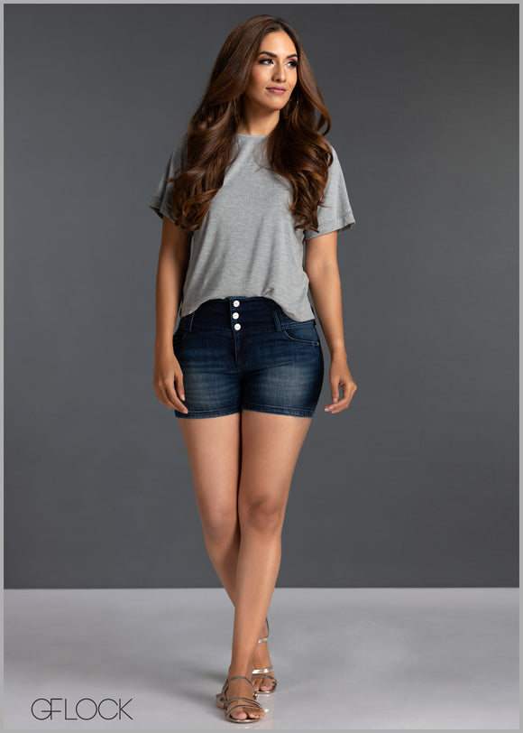 Mid Blue High Waist Short