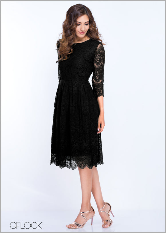 Flared Skirt Lace Dress