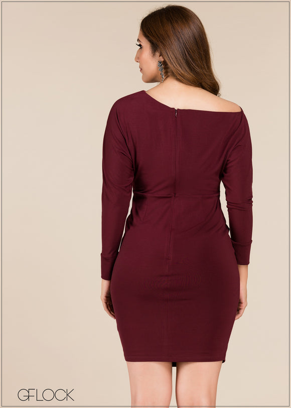 Long Sleeve Bodycon Short Dress - GFLOCK.LK