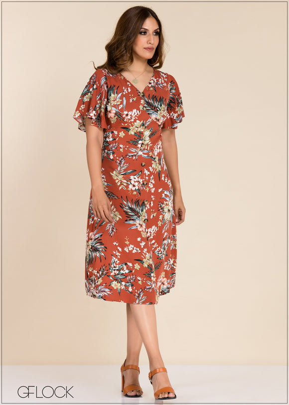 Flared Sleeve Printed Dress - GFLOCK.LK