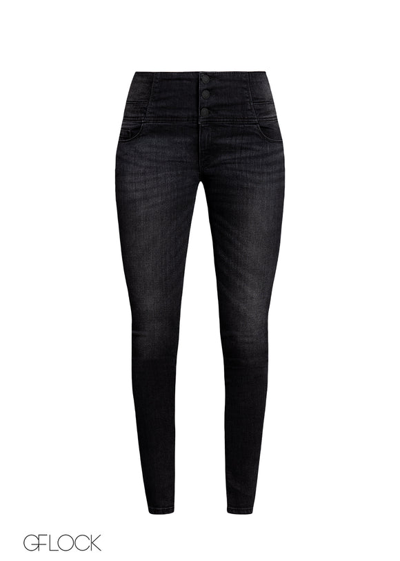Black Mid Washed High Waist Jean