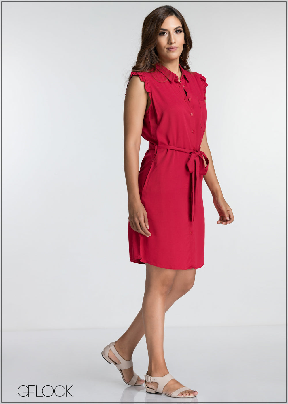 Single Pocket Buttoned Down Dress