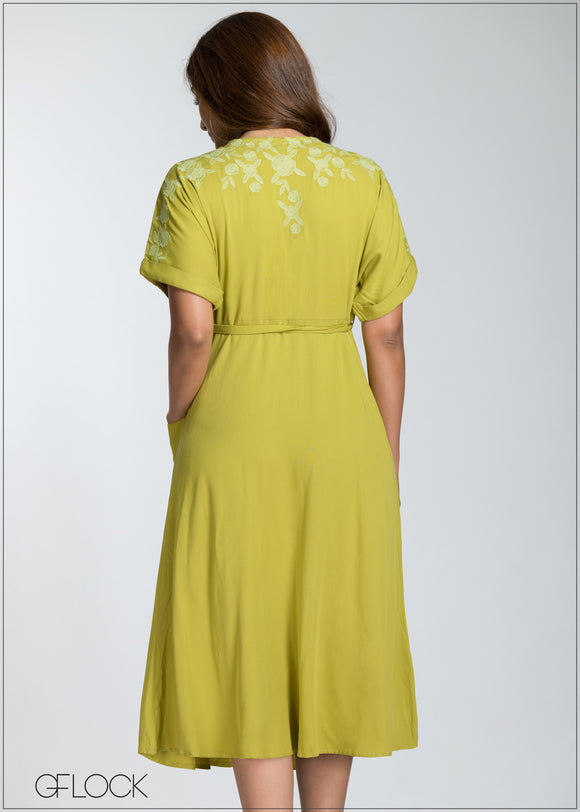 Embroider Front Buttoned Midi Dress