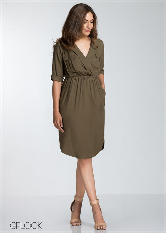 Front Wrap Three Quarter Sleeve Dress