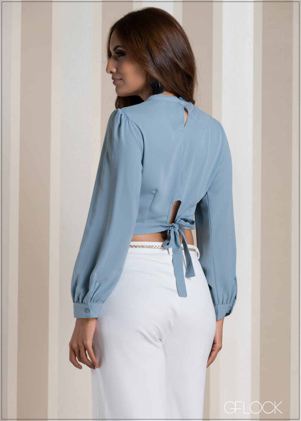 Back Tie Long Sleeve Evening Top