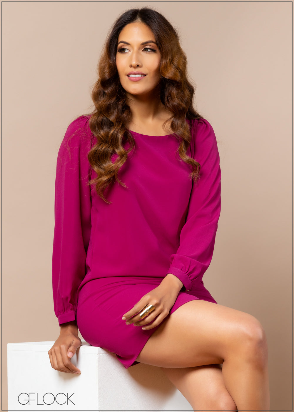 Shift Dress with Long Sleeves