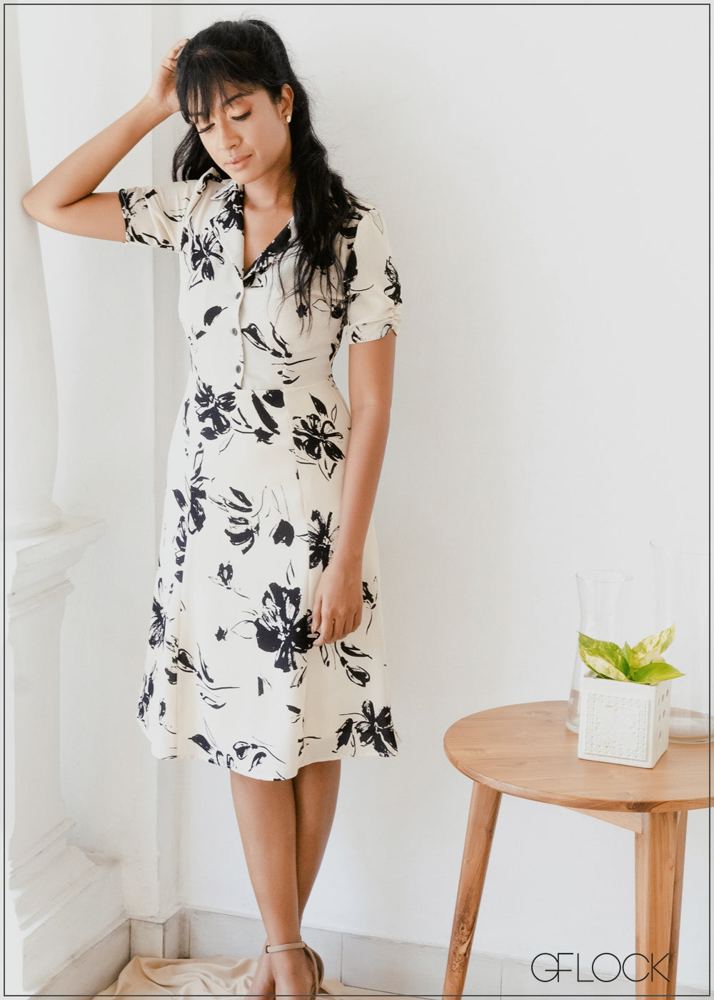 Printed Dress with Rouched Sleeve