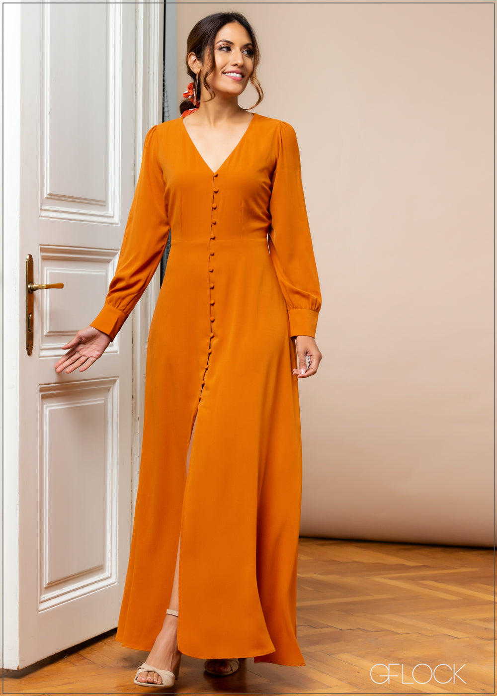 Long Sleeved Dress with Front Slit