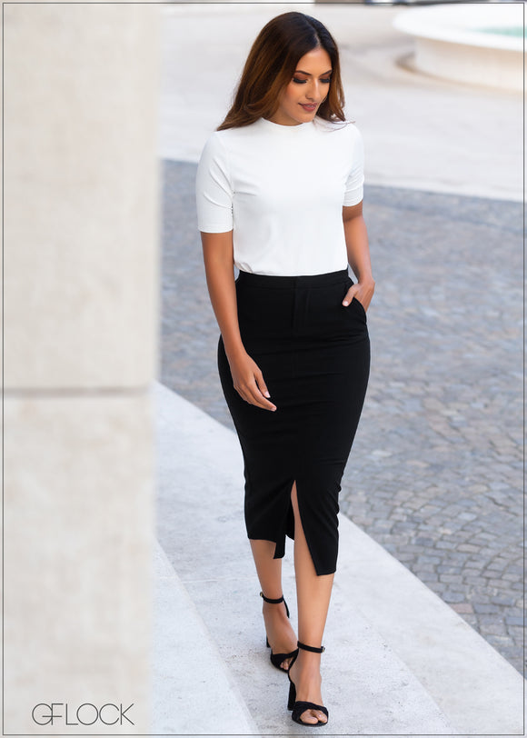 Center Slit Pencil Skirt