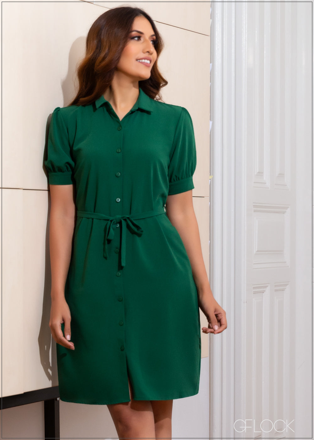 Dress with Short Puff Sleeves - WW 2611