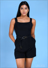 Square Neck Romper - Knit 1011