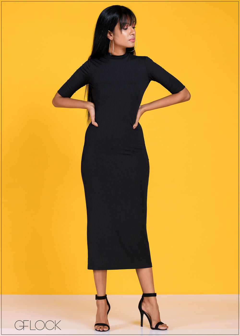 High Neck Ribbed Dress - Knit 1011