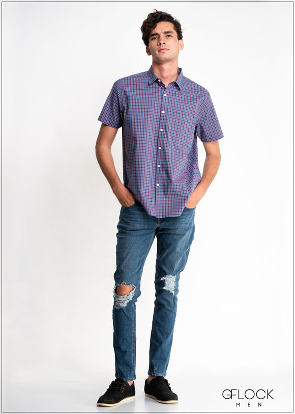 Checked Short Sleeve Shirt - MS104