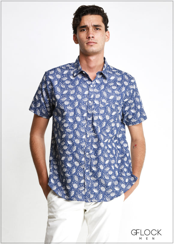 Normal Collar Printed Short Sleeve Shirt - MS104